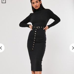 NWT SZ4 MISSGUIDED BLK ROLL NECK BELTED MIDI DRESS